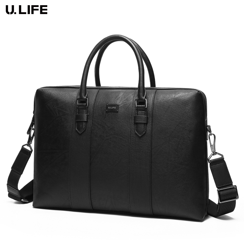 купить New Hand Bag Famous Brand Business Men Briefcase Male High Quality Leather 14 inch Laptop Bag Casual Man Bag Shoulder Bag J50 по цене 8770.32 рублей