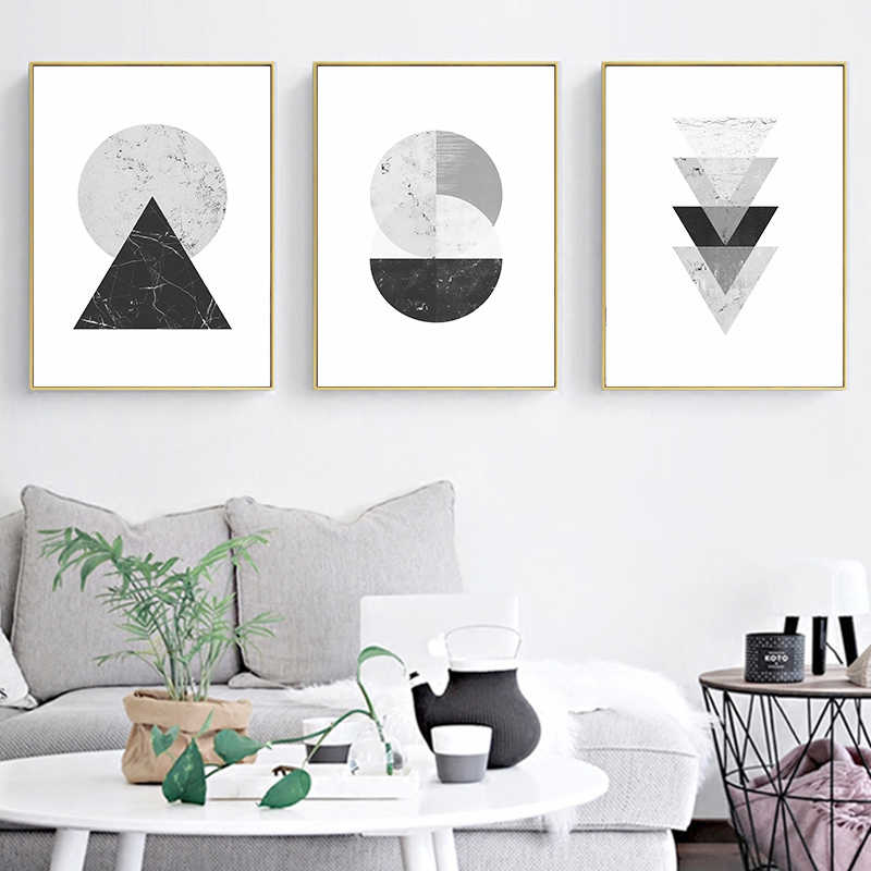 Minimalist Style Marble Geometric Pattern Abstract Decorative Canvas Painting Print Poster Restaurant Home Wall Art Decoration