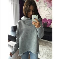 Women Tops 2017 Autumn Winter Long Sleeve Scarf Collar Long Sleeve Fashion Sweatshirts T Female Blouses