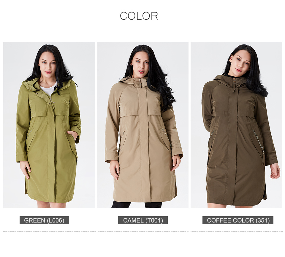 19 Trench Coat Spring And Autumn Women Causal coat Long Sleeve With Hood Solid color female moda muje High Quality new AS-9046 5