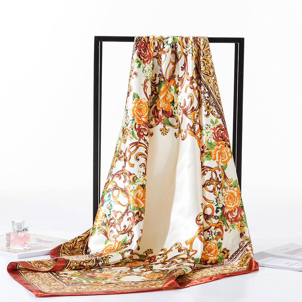 2019 Fashion Brand Leopard Printed   Scarf   Women Luxury Hijab Silk Satin Shawl Scarfs Foulard Square Head   Scarves     Wraps   90x90cm