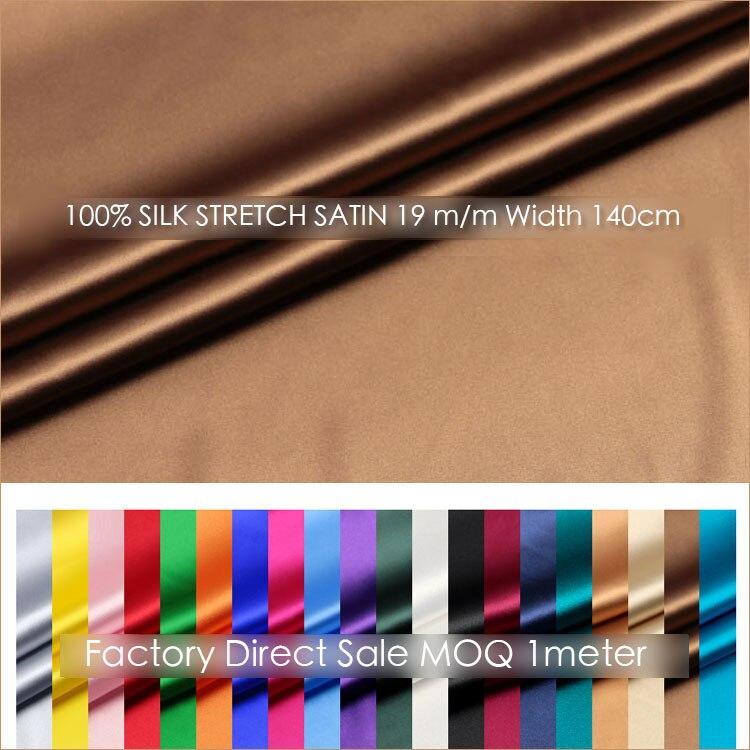 SATIN de soie extensible 140cm largeur 19 momme/tissu de soie Pure Satin + Spandex mode tissu robe de soirée en soie MOQ 1 mètre livraison gratuite