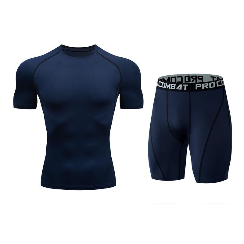 Для мужчин костюм модные компрессионная рубашка для фитнеса Однотонная футболка с короткими рукавами+ Шорты Для мужчин костюм мышцв, бодибилдинг одежда - Цвет: tz7