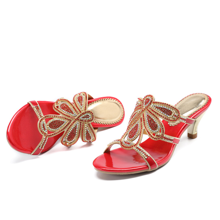 New Luxury Diamond Stiletto High Heels Slippers Online Shopping Peep Toe Womens Shoes Sale High Quality Gold Purple Black Red15