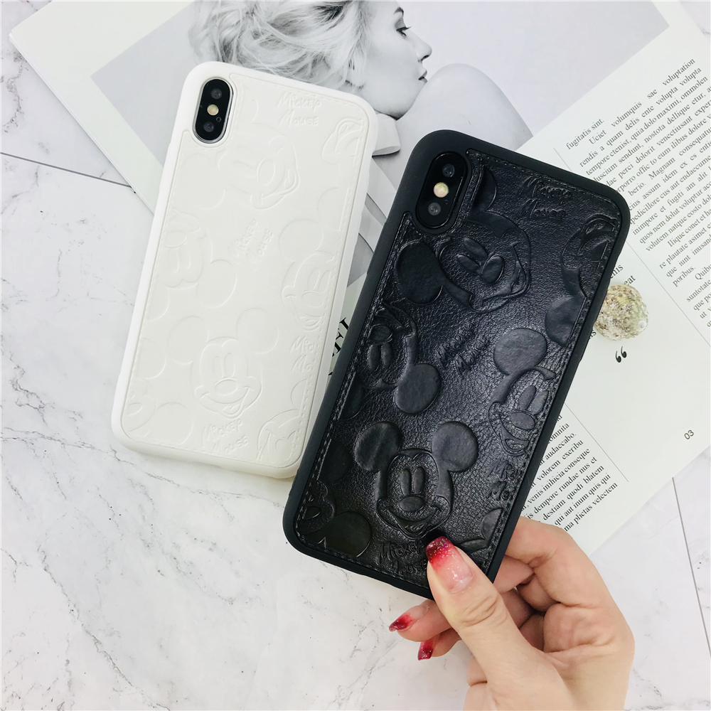 Cartoon 3D Touch Mickey Minnie Mouse Case For IPhone X 8 7 Plus 6S 5 5s SE Soft Silicone Relief Pattern Phone Case Back Cover
