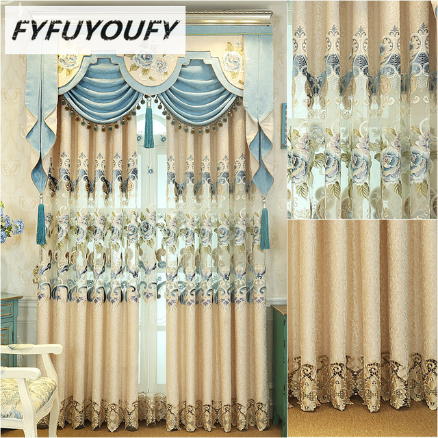 European Luxury Curtain Fabric For Living Room,Embroidery Tulle Curtain For  Bedroom,silk Curtain