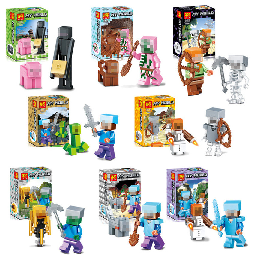 8set/lot Minecraft Steve Toys Mini Model Game Juguetes Building Blocks Action Figures Safe ABS Gifts for Kids Brinquedos #E new smith minecraft arrow action figure toy pixel mosaic bow and arrow assembled set of juguetes anti stress toys for kids