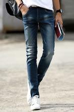 2016 джинсы мужчины эластичные тощий мужские джинсы долго уменьшают подходящие свободного покроя брюки flexiable джинсовые брюки мужчины 28 — 36 Большой размер 5Z