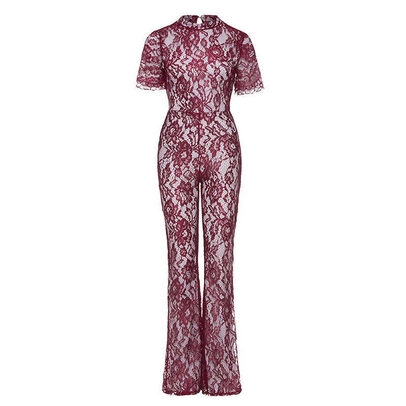Queenus women casual jumpsuits 2018 spring summer red Plain elegant lace fashion wide legs patchwork sexy backless jumpsuit