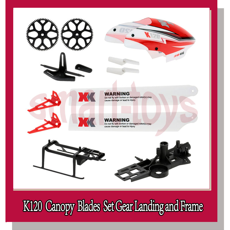 Earnest K120 Parts Bag K120 Main Blade Canopy Servo Plate Tail Blade Motor Frame Landing Gear Tail Wing For Wltoys K120 Helicopter