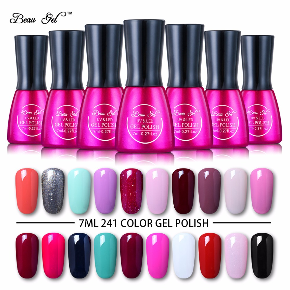 Beau Gel 7ml Kuku UV Gel Poland Cantik Gel Pengawetan UV berwarna Enamel Semi Tetap Poland Pilih dari 241 Warna Gel Varnish