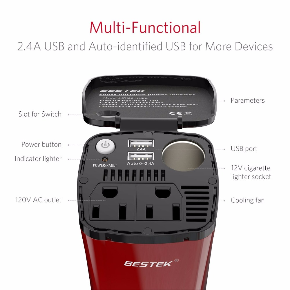 Bestek Power Converter 12v To 110v Dc Ac Inverter Dual Usa Simple Low Convert 120v How Much Outlet Usb Charging Ports 45a Adapter Socket In Car Inverters From