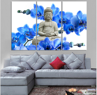 2017 Sale 3 Pieces Set Blossom For Buddha Art Painiting On Canvas Luxury Statue Home Decoration Wall Pictures For Living Room