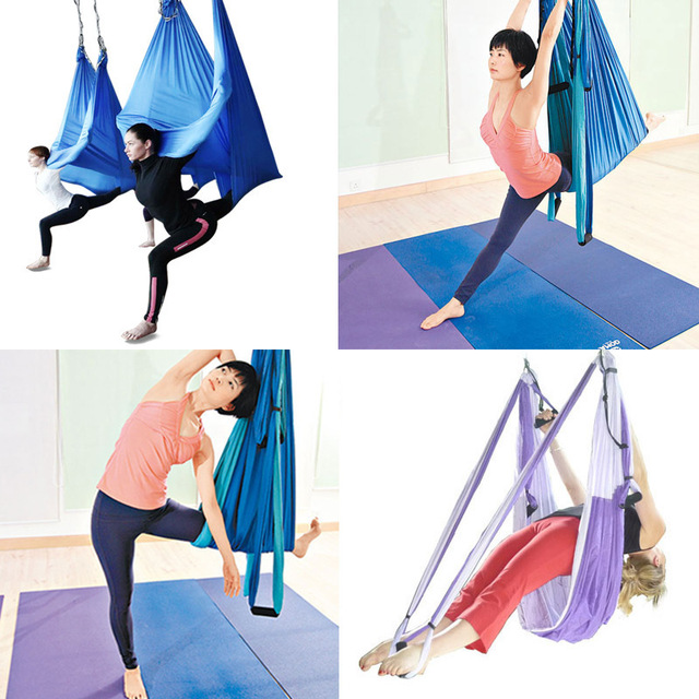 Medium image of new strong holder 3 color strength de pression yoga hammock inversion trapeze anti gravity aerial traction