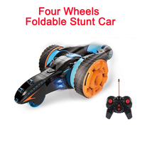 Four Wheels Foldable Stunt Car RC Double sided Tumbling 3D Flip Deformation High Speed Climbing Racing Action with LED Headlight