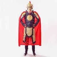 Oude chinese kostuum chinese algemene warrior armor halloween kostuums vintage shogun clothing jas + hoed + mantel + innerlijke slijtage