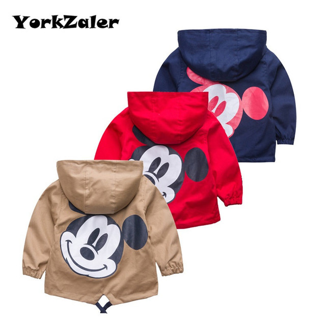 272c08a9b YorkZaler New Boys Girls Jackets For Children Hooded Cute Mickey  Windbreaker Kids Coats Baby Clothes Spring Outerwear Clothing