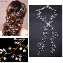 Luxury Wedding Bridal Rhinestone Faux Pearl Floral Headband Tiara Hair Chian Headpiece Women Jewelry Accessories недорого
