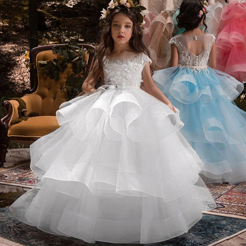Ball Gown Prom Evening Girl Long Dresses Flower Girl Wedding For Party First Communion Princess Dress Baby Costume For Children