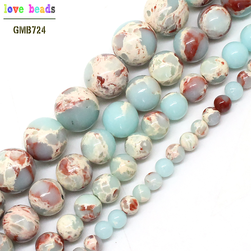 Round ShouShan Stone Snakeskin Blue Stone Beads For Jewelry Making 4/6/8/10/12mm Pick Size 15inches Diy Necklace (F00593)(China)