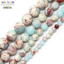 97dd9f3475d0 Ronda de piedra ShouShan de piel de serpiente de piedra azul perlas para  joyería haciendo 4 6 8 10 12mm elegir tamaño de 15 pulg.