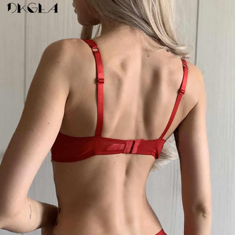 יוקרה אדום חזייה סקסי חזייה ABC כוס עבה כותנה תחתוני נשים חזיות רקמת הלבשה תחתונה תחרה לדחוף את חזייה חום