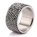 Wholesale  7 Row Jet Hematite Crystal 316L Stainless Steel Jewelry Ring Christmas gift Free Shipping