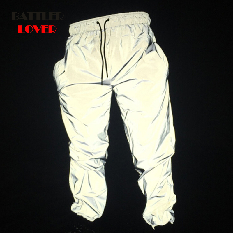 Dropship Reflective Hip Hop Pants Men Joggers Sweatpants Men's Streetwear Night Light Trouser Shiny Blink Long Pants For Couples