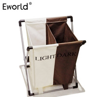 Eworld Laundry Basket Dirty Clothes Separated Two Grids Foldable Basket Necktie Socks Bag Waterproof Oxford Bathroom Storage Box
