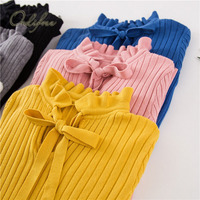 Ordifree 2017 Autumn Winter Knitted Sweater Pullover Pull Femme Cute Warm White Yellow Lace Up Turtleneck