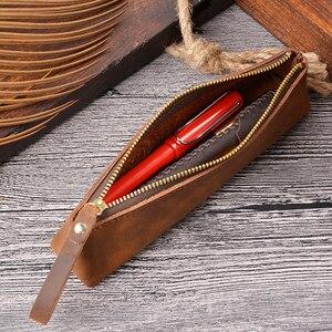 Image 4 - Prawdziwej skóry zamek piórnik ołówek torba duża pojemność rocznika szalony koń skóry ręcznie kreatywny akcesoria szkolne