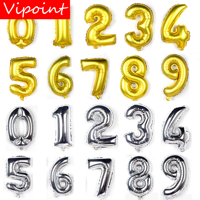 VIPOINT PARTY 16/32/40inch white yellow gold number foil balloons wedding event christmas halloween festival birthday party FD-2