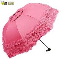 Top Quality Korea Brand New Arched Umbrellas Women Sun Rain Princess Umbrella Lace Wedding Parasol Great