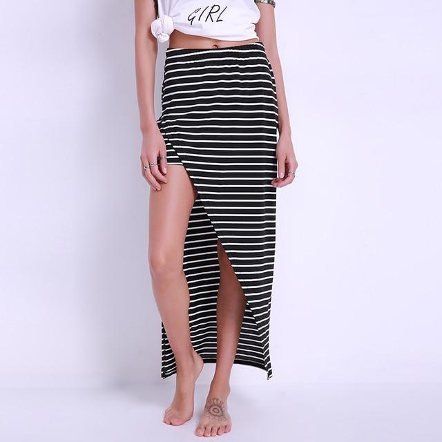 2bbefb120be High Quality Women Stripe Asymmetrical Black Split Maxi Skirts Fashion 2018 Sexy  Summer Style Women Fitness Casual Long Skirt