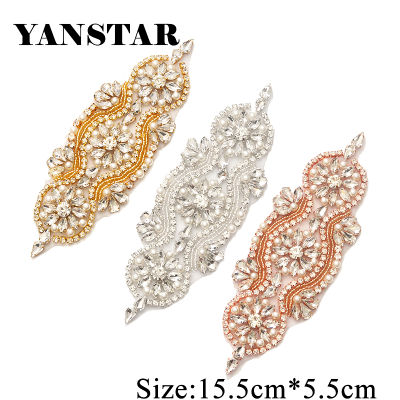 YANSTAR 1 PCS Rhinestone Appliques For Wedding Belt Rose Gold Crystal - Өнер, қолөнер және тігін - фото 2