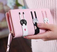 Новый мобильный телефон кошелек женский длинные молнии Мультфильм Три кошки Модные женские бумажник, мешок руки