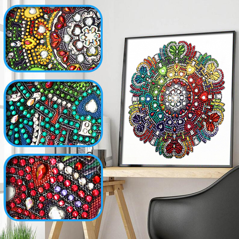RUBOS DIY 5D Diamond Embroidery Mandala Sun Triptych Diamond Painting Multi Picture Rhinestones Pearl Big Mosaic Sale Wall Decor (44)