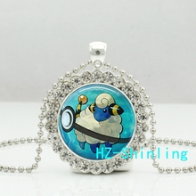 New Mareep Crystal Necklace Mareep Pendant Glass Anime Photo Jewelry Silver Crystal Pendant Necklace