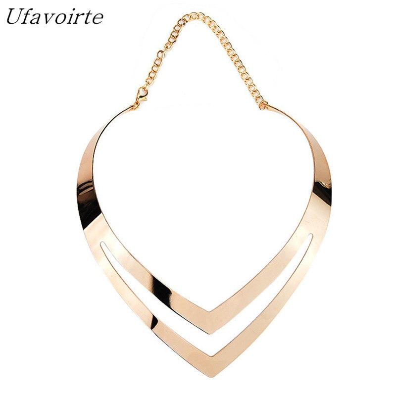 Ufavoirte Jewelry Charm Choker Necklaces Women Gorgeous Metal Multi Layer Statement Bib Collar Necklace Fashion Jewelry