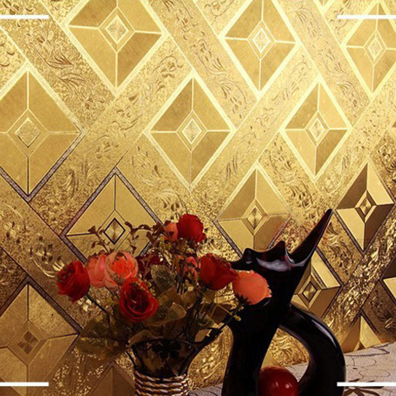 Gold Foil Wallpaper Luxury Classic 3D Stereoscopic Golden Square Lattice KTV Bar Ceiling Wallpaper Wall Covering Papel De Parede