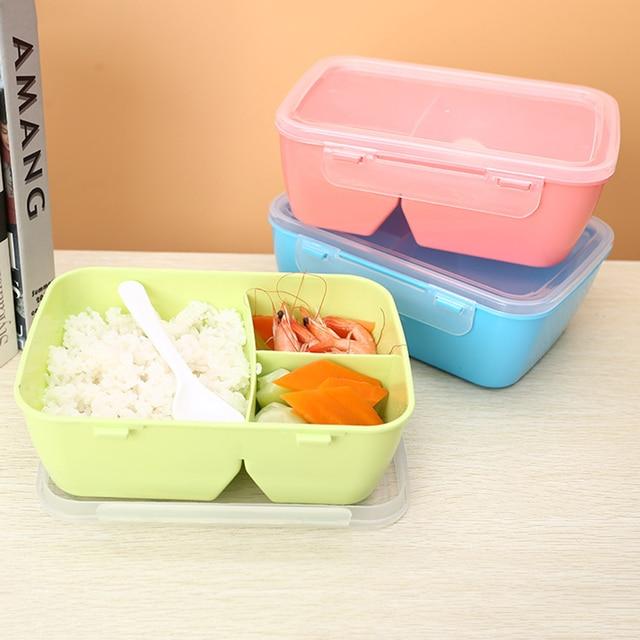 1 шт. здоровый Пластик Еда контейнер Портативный Коробки для обедов с ложкой Ёмкость Кемпинг Пикник Еда фрукты контейнер коробка для хранения
