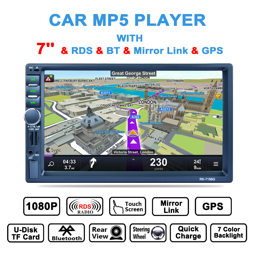 2 DIN 7 Car Media Payer Touch Screen Bluetooth GPS Navigation Car Stereo Radio Video Player Rear Camera Steering Wheel Control