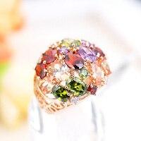 R311489 sang trọng elgant màu sắc zircon nóng bán nhẫn kẽm hợp kim rose gold màu với Áo pha lê CZ thời trang nữ trang sức