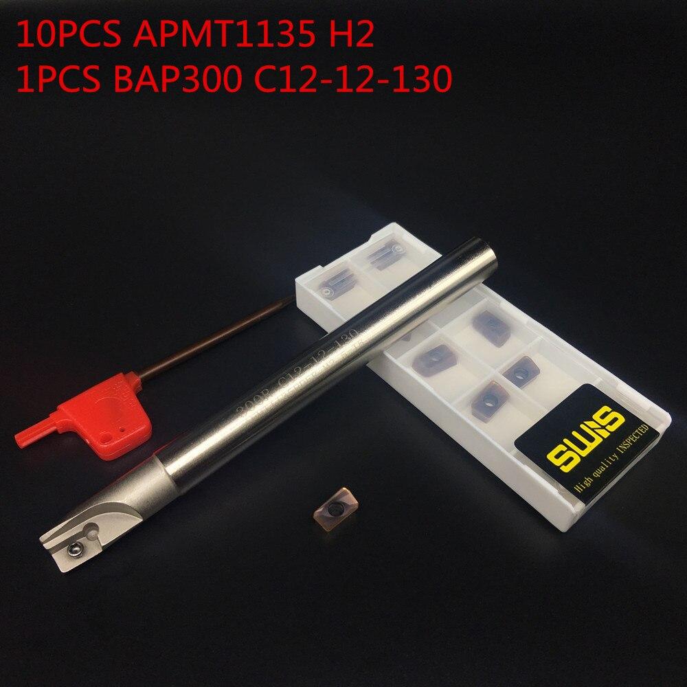 10 PZ APMT1135 H2 + 1 PZ 12mm Supporto per fresa BAP300R C12-12-130L-1F Fresa per sgrossatura Lavorazione P M K