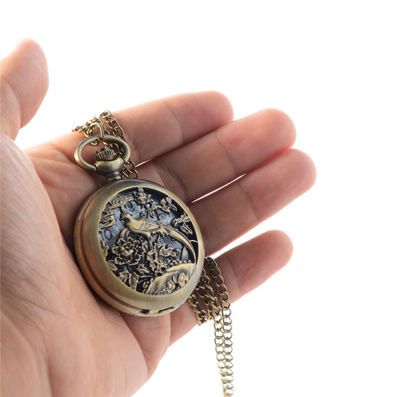 Unique Retro Gold Colors Long Tail Bird Design Necklace Pendant Quartz Pocket Watch with  Chain Mens Womens Gifts old antique bronze doctor who theme quartz pendant pocket watch with chain necklace free shipping