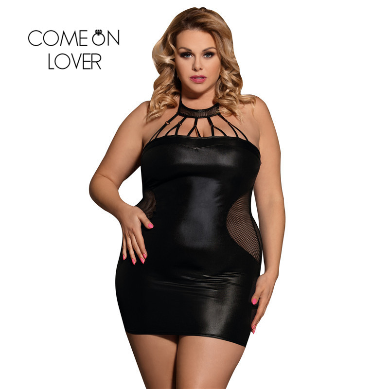 Comeonlover Sexy Lingerie Plus Size Babydoll Dress RI80454 Nero Faux Leather Costume Clubwear Lingerie Disfraz Erotico Mujer