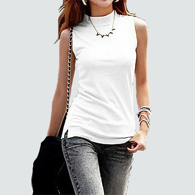 860e3d849b2e € 4.37 15% de DESCUENTO|Mujeres moda sólida camiseta sin mangas mujeres  otoño Tops camisetas algodón cuello alto camiseta mujer 10 colores en ...