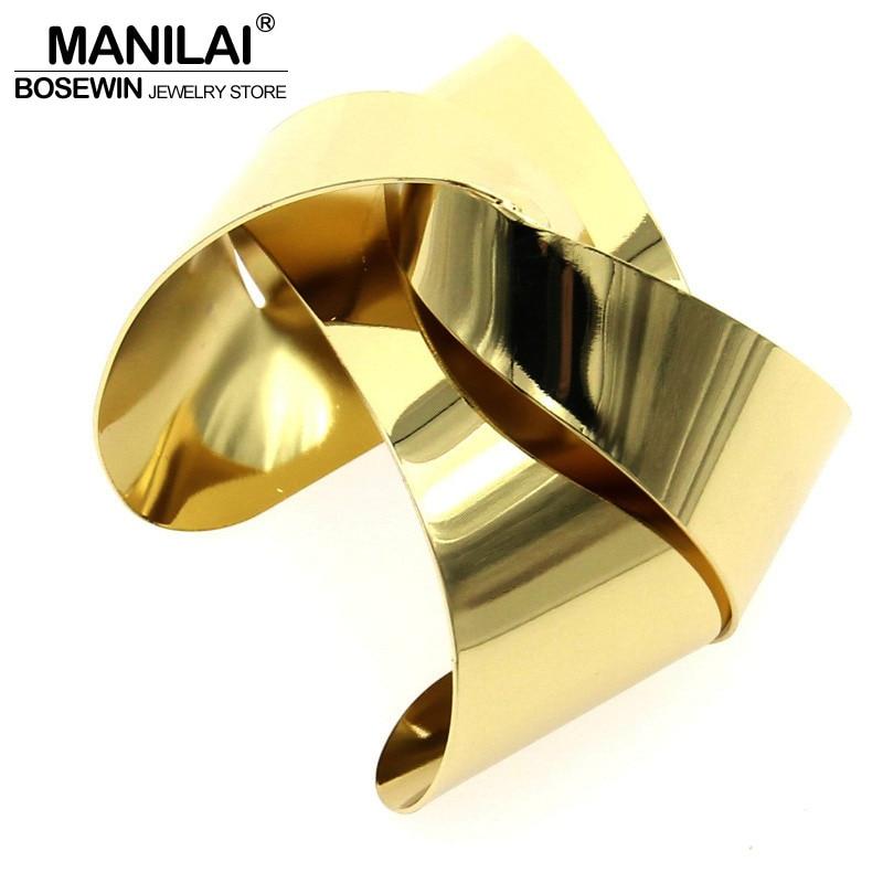 MANILAI Unique Design Warp Surface Alloy Opened Cuff Bangles Bracelets For Women Fashion Statement Jewelry Cuff Bracelet BL113 vintage rhinestone alloy cuff bracelet for women