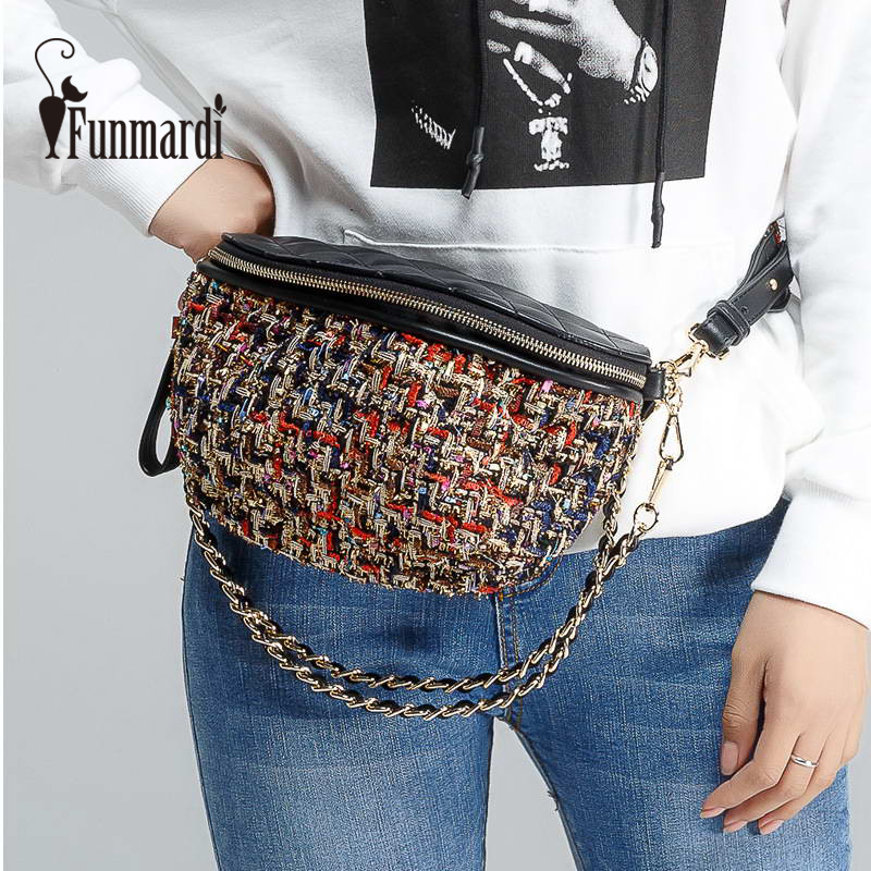 FUNMARDI New Color Fiber Knit Women Waist Pack Designer Fanny Pack PU Leather Waist Bag Fashion Bum Bag Female Bag Belt WLAM0070