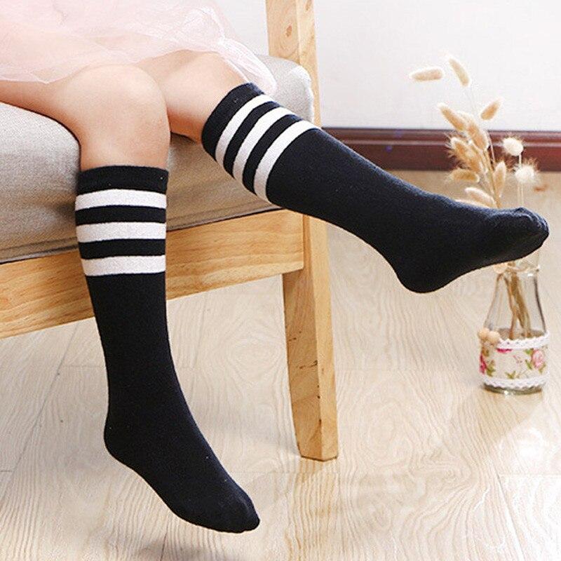 BalleenShiny Cute Stripe Anti-Slip Cartoon Kids Socks Cotton Baby Kid Knee High Socks Baby Girls Socks For 5-9 years